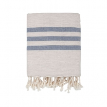 """THROW LAMBSWOOL """"BLUE STRIPES"""""""